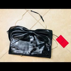 VALENTINO GARAVANI black patent bow bag chain